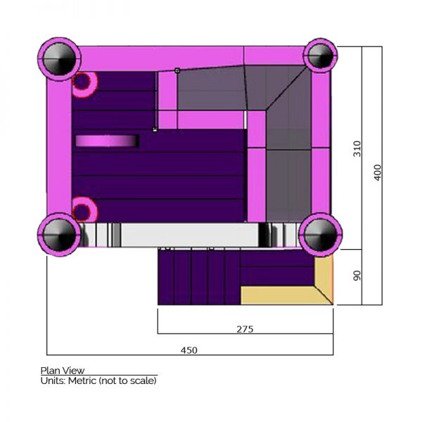 Princess combo bounce house plan view dimensions. Total length is 450cm. and total width is 400 cm.