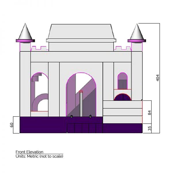 Princess Combo Bounce House front elevation dimensions. Total height is 404 cm.