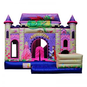 Front view of a Princess themed inflatable bouncy castle.