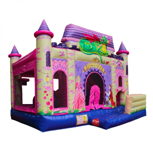 Perspective view of a Princess themed inflatable.