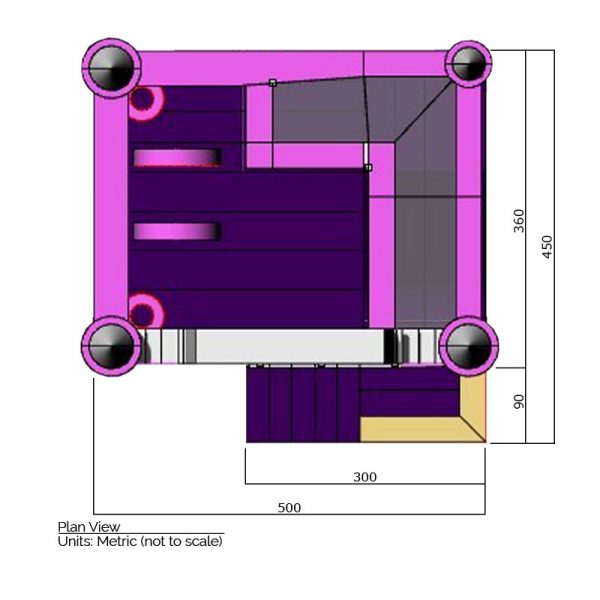 Princess combo bounce house plan view dimensions. Total length is 500 cm. and total width is 450 cm.