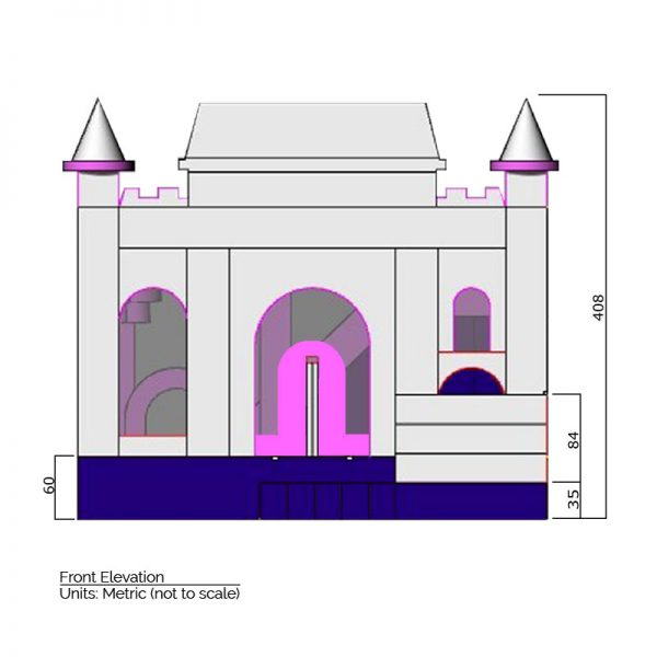Princess Combo Bounce House front elevation dimensions. Total height is 408 cm.