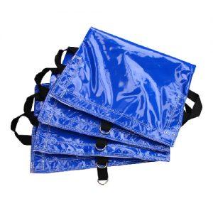 set of 4 blue sandbag covers.