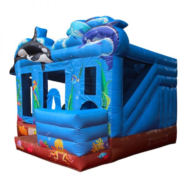 Perspective view of a blue and brown Sea themed inflatable bounce house.