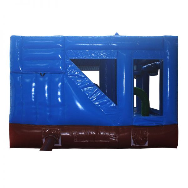 Rear view of a blue and brown inflatable.