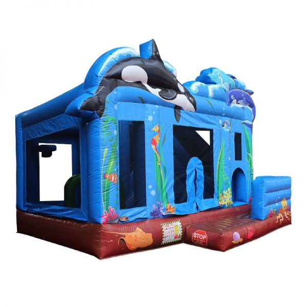 Perspective view of a blue inflatable bouncy castle.