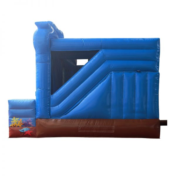 Side view of a blue and brown inflatable.