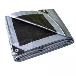 folded black and silver tarp