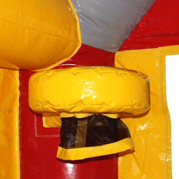 Yellow bouncy castle basketball hoop with a black netting on the red column.