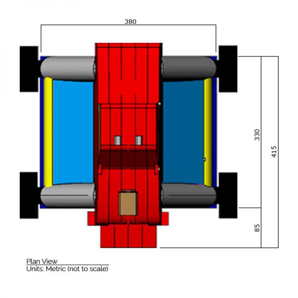 Monster Truck bounce house plan view dimensions. Length is 415 cm. and width is 380 cm.