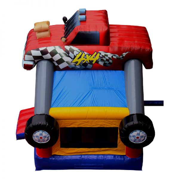 Monster Truck bounce house birds eye view. Blue red and yellow inflatable with a monster truck 3D design mounted on top.