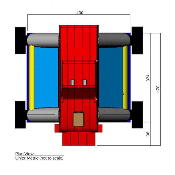 Monster Truck bounce house plan view dimensions. Length is 470 cm. and width is 430 cm.