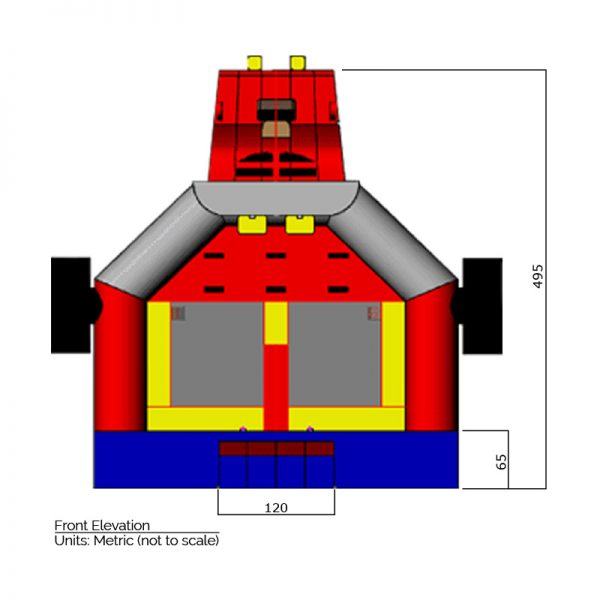 Monster Truck Bounce House front elevation dimensions. Total height is 495 cm.