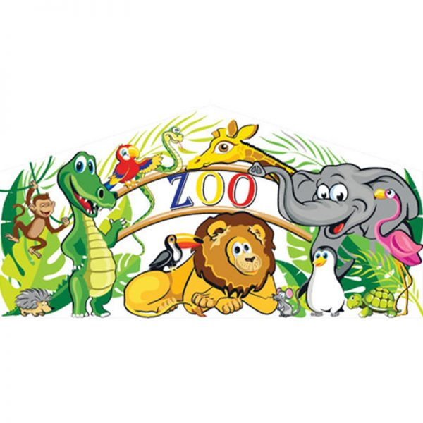 Zoo art panel featuring a zoo sign and cartoon zoo animals.