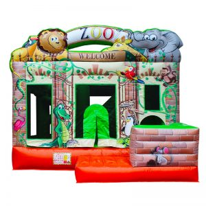Front view of a Zoo themed inflatable bouncy castle.