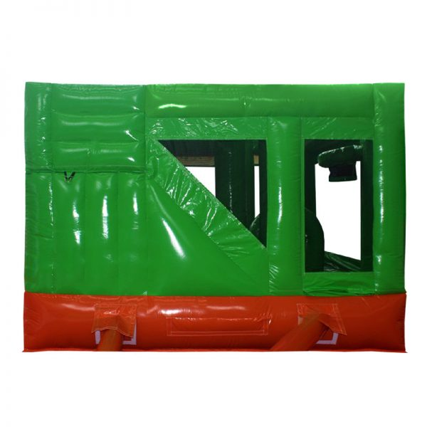 Rear view of a green and orange inflatable.