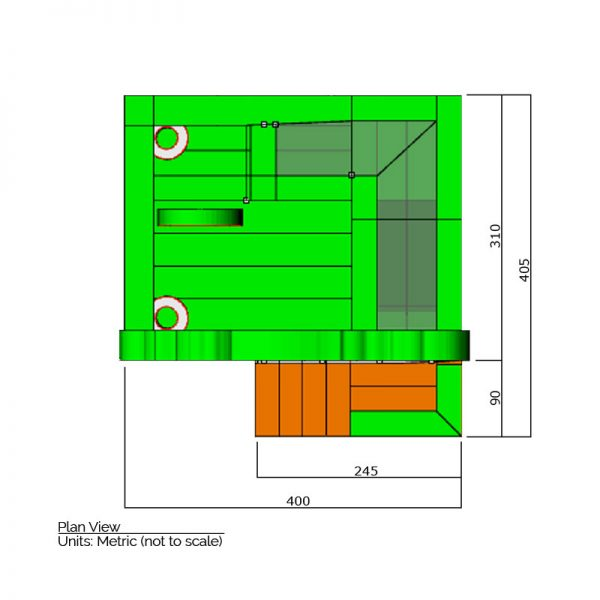 Zoo combo bounce house plan view dimensions. Total length is 405 cm. and total width is 400 cm.