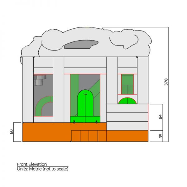 Zoo Combo Bounce House front elevation dimensions. Total height is 378 cm.