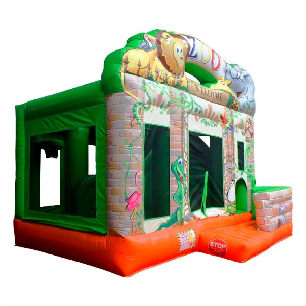 Perspective view of a Zoo themed inflatable bouncy castle.