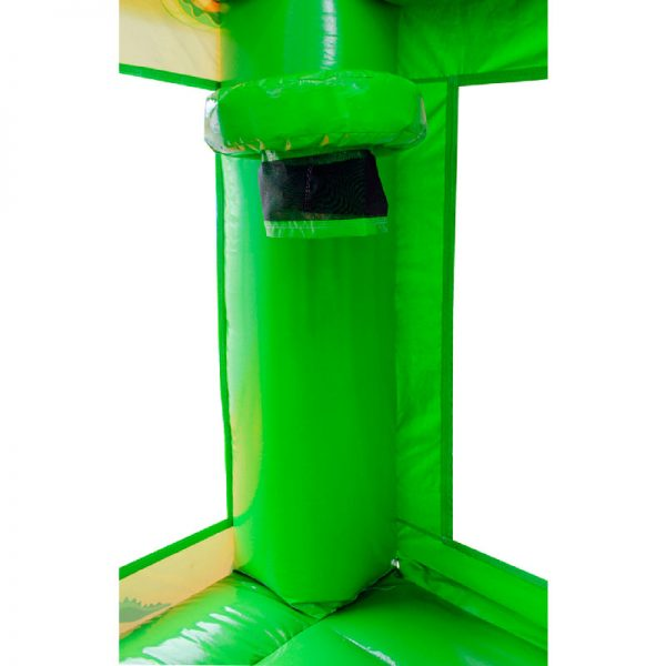 Bouncy castle basketball hoop with a black netting on the corner column of a green bouncy castle.