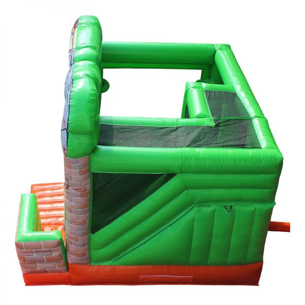 Birds eye view of a Zoo themed inflatable bouncy castle.