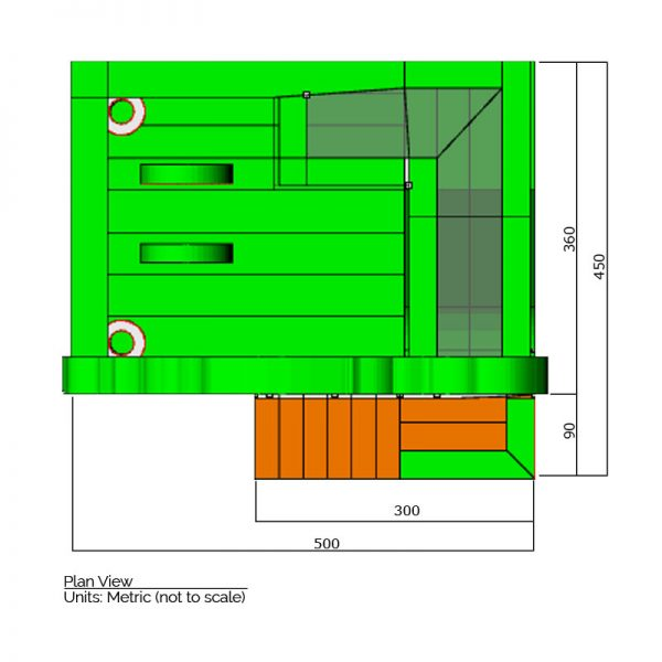 Zoo combo bounce house plan view dimensions. Total length is 500 cm. and total width is 450 cm.