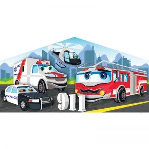 First responders 911 art panel featuring a fire truck, an ambulance a helicopter and a police car.