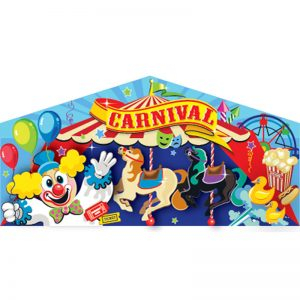 Carnival themed art panel featuring a clown, merry go round and fair concessions.