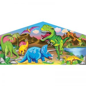 Dinosaurs art panel featuring dinosaurs like Tyrannosaurus, Brachiosaurus, Triceratops and Stegosaurus.