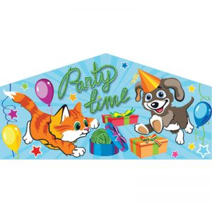Party Time art panel featuring a cat and a dog wearing a party hat. Presents and balloons are all around them.
