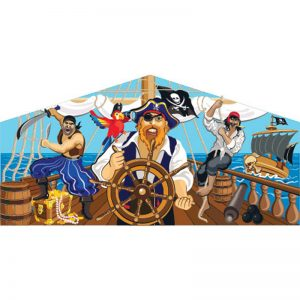 Pirates themed art panel featuring a group of pirates and their captain on the ship deck with pirates flag waving above them.