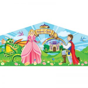 Princess Themed art panel featuring a princess, a prince, and a dragon on the beautiful field of wild flowers and a princess castle in the background.