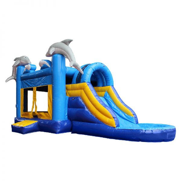 Front perspective view of a blue and yellow Dolphin water slide bouncy castle with two grey dolphins mounted on the front columns of the inflatable.