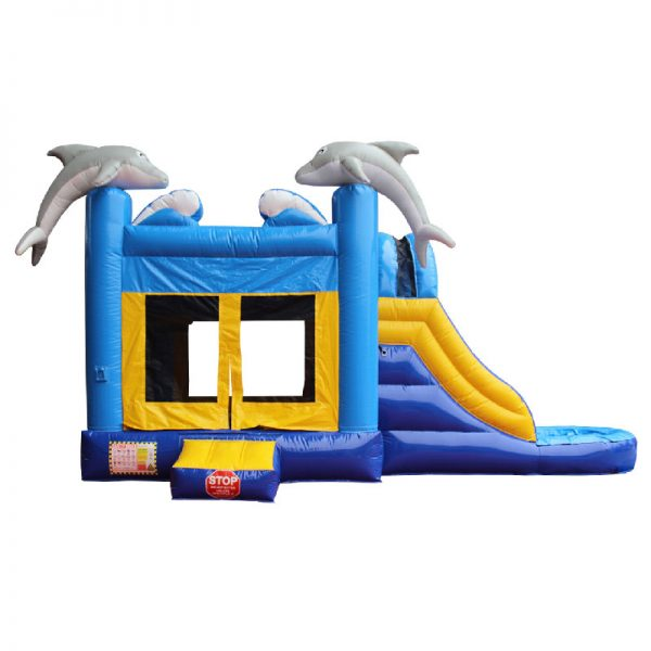 Front elevation view of a blue and yellow Dolphin water slide bouncy castle with two grey dolphins mounted on the front columns of the inflatable.
