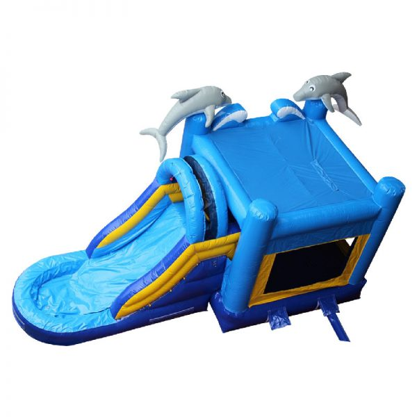 Birds eye view of a blue and yellow Dolphin water slide with grey 3D dolphins mounted on the front columns of the inflatable.
