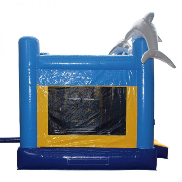 Side view of a blue and yellow Dolphin water slide with grey 3D dolphins mounted on the front columns of the inflatable.