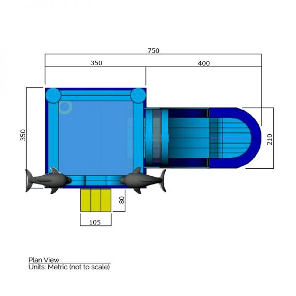 Dolphin bounce house plan view dimensions. Total length is 750 cm. and total width is 430 cm.