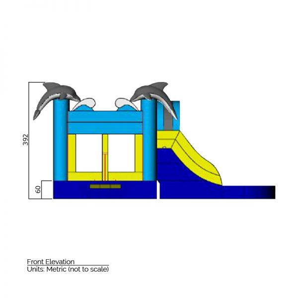 Dolphin bounce house front elevation dimensions. Total height is 392 cm.